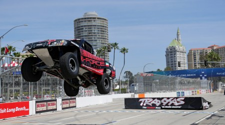 Khaled jumps off the ramp at Long Beach in Stadium Super Trucks at the Toyota Grand Prix of Long Beach in Long Beach, California on April 15, 2016. Photo: Chris Anderson/114photography