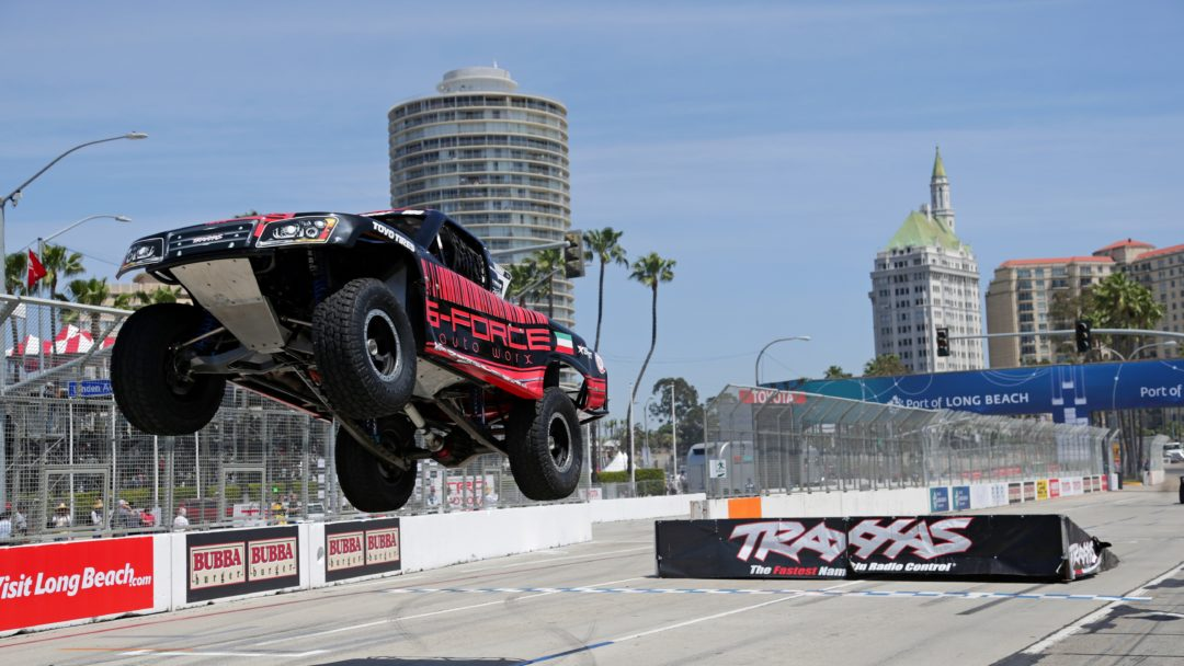 Khaled jumps off the ramp at Long Beach